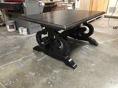 Solid Wood Trestle Dining Table Antique Vintage Finish, Mortise And Tenon Detail