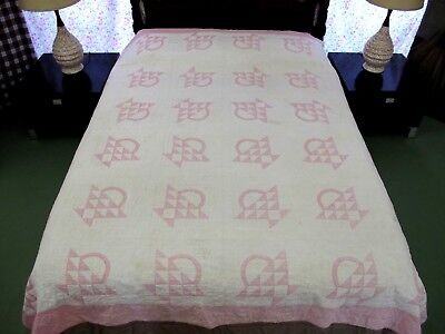 "NEEDS TLC: Vintage Hand Pieced & Quilted All Cotton Pink BASKET QUILT; 88"" x 86"""