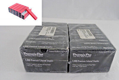 Lot 10 Boxes PraxxisPro Premium Standard Staples 26/6 Chisel Point Red 50,000 Ct