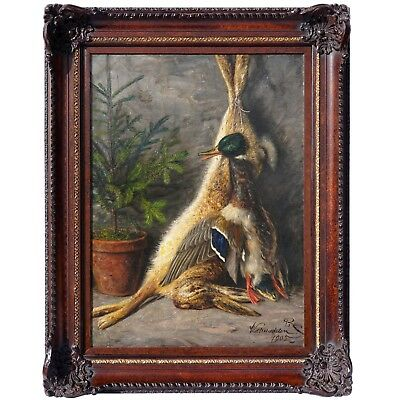 Antique German Still Life Oil Painting Rabbit & Duck Hunting Scene, Signed Dated