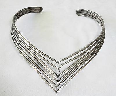 Vintage unmarked Silver Choker Cuff Necklace (Ver)