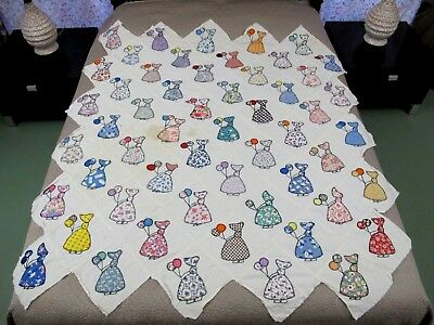 Vintage Feed Sack Hand Sewn Sunbonnet Sue BALLOON GIRL Quilt TOP; Novelty Prints