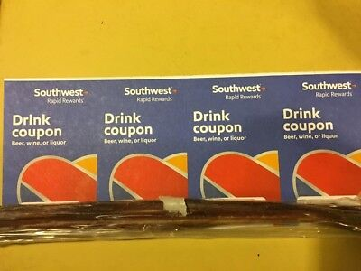 4 Southwest Airlines Drink Coupons - expires September 30, 2019 Beer Wine Liquor