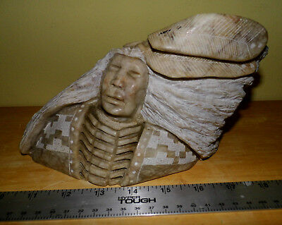 Navajo? alabaste? stone? Indian Native American sculpture headdress feathers