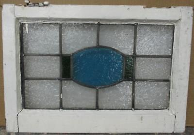 """OLD ENGLISH LEADED STAINED GLASS WINDOW Simple Geometric Design 21"""" x 14.5"""""""