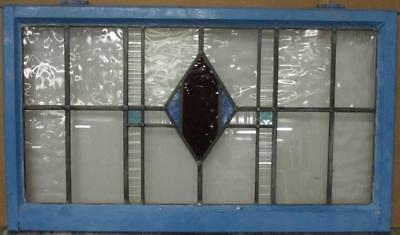 """OLD ENGLISH LEADED STAINED GLASS WINDOW TRANSOM Gorgeous Diamond 37.25"""" x 21.5"""""""