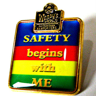 """Wendy's Restaurant """"Safety Begins with Me"""" Employee Pin Lapel shirt - 242"""