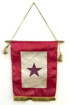 Vintage WWII Navy Blue One Star Service Family Window Flag Banner