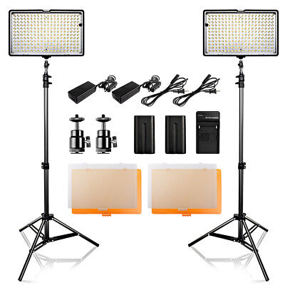 2-PACK Travor TL-240 LED Video Light Studio Photography Lighting Kits + Stand UK