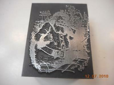Printing Letterpress Printer Block, Detailed Christmas Santa, Printer Cut
