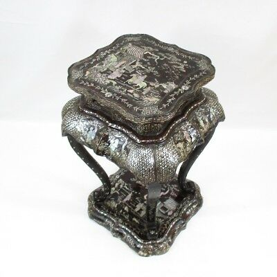H867: Chinese old lacquered decorative stand w/fantastic inlaid mother-of-pearl
