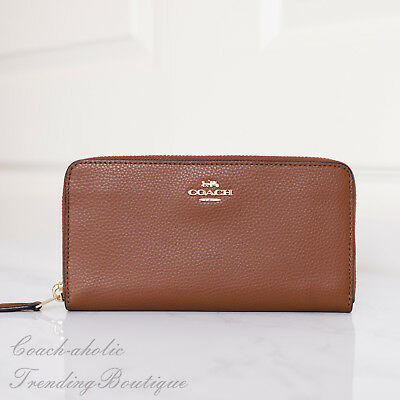 Coach F16612 Pebble Leather Accordion Zip Around Wallet Saddle