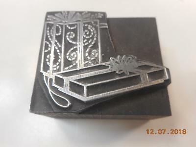 Printing Letterpress Printer Block, 2 Decorative Christmas Gifts, Printer Cut