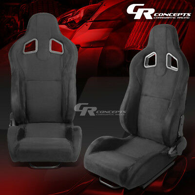 Pair All Black Fully Reclinable Suede Type-R Style Sport Racing Seats W/slider
