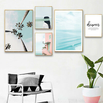 Ocean Beach Canvas Poster Nordic Wall Art Print Painting Living Room Decoration