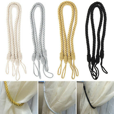 Colorful Braided Satin Rope Curtain Voile Tie Backs Weave Drapes Holdback Straps
