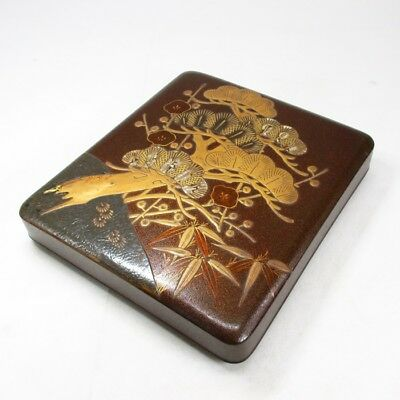 A317 Japanese tier of really old lacquered ink stone case with great KORIN MAKIE