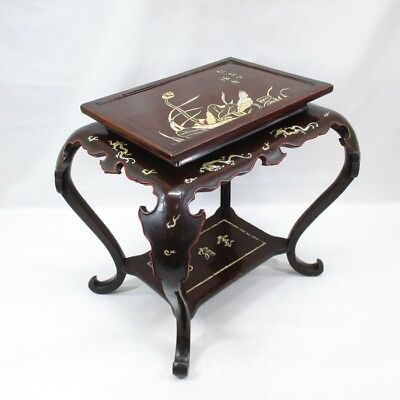 A319: Chinese old lacquered decorative stand of fantastic shape with inlay work