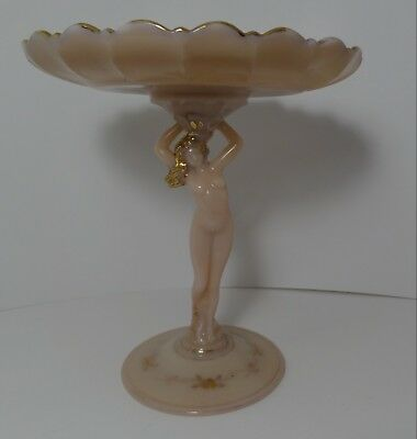 Vintage Art Deco Pink Art Glass Nude Compote Scalloped Dish  JD  Cambridge