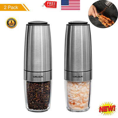 Salt and Pepper Grinders 2-in-1 Adjustable Shaker Set Mill Glass Stainless Steel