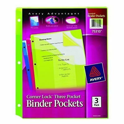 avery corner lock pockets fits 3 ring binders w 3 assorted pockets