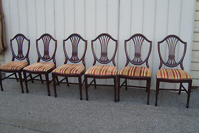 59656  Set of 6 Vintage Solid mahogany Shield Back Dining Chair s Chairs