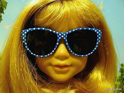 """BLUE & WHITE Polka Dot DOLL SUNGLASSES fits 18"""" AMERICAN GIRL Doll Clothes"""