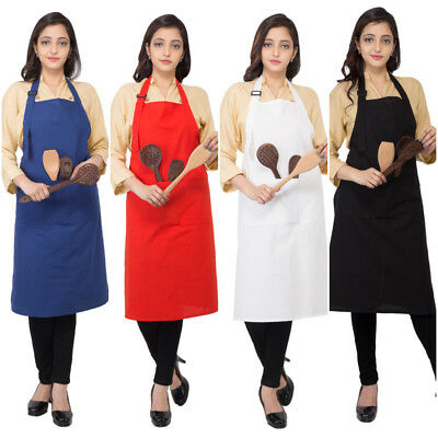 Solid Unisex Aprons With Pockets Restaurant Home Cotton Aprons Bib BBQ Aprons