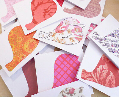 20 Mini Notecards, Small Cards To Write Thank You, Blank Note Cards Birds Design