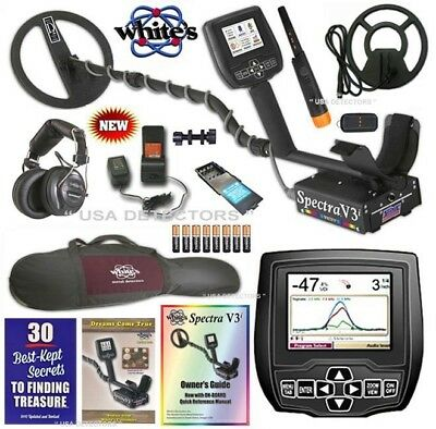 """Whites Spectra V3i Metal Detector with HP,10""""DD + 9"""" Coils, Bag, TRX Pinpointer"""