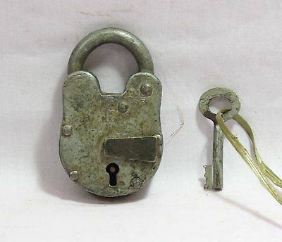 Indian Old Vintage Hand Made Original Iron Aligarh 2001 Levers 4 50Mm Lock W Key