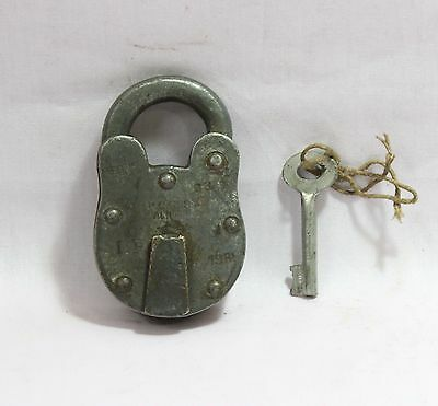 Indian Old Vintage Hand Made Original Iron Aligarh 1981 Levers 4 50Mm Lock W Key