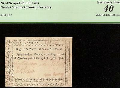 1761 North Carolina Colonial Currency Note Paper Money Nc-126 Pcgs 40 Shillings