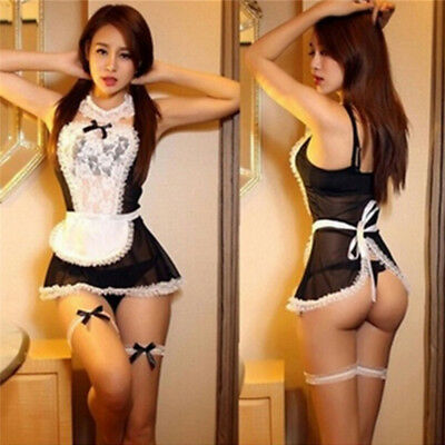 Women Nightwear Lace Costume Cosplay Maid Sexy Lingerie Outfit Fancy Dress df