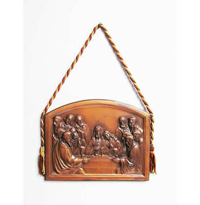 Vintage Religious Wall Hanging copper Last Supper catholic religion Birembaux