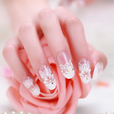 24Pcs Acrylic design french nail full cover nail tips false art crystal diamond