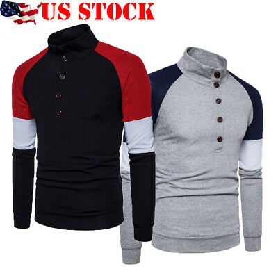 US STOCK New Men's Slim Fit Knitted Sweater Round Neck Jumper Knitwear Pullover