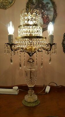 Vintage Brass and Crystal Table Lamp Tiered