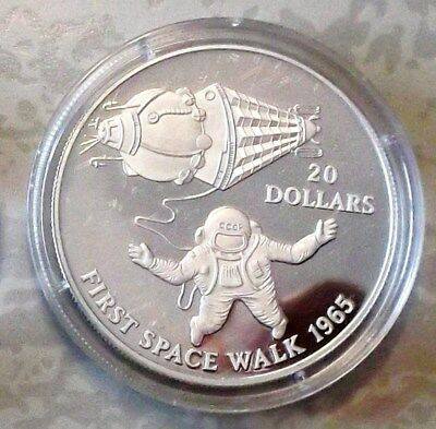First Space Walk 1965 - $ 20 Dollar Kiribati 1993 Silber PP - 25 J. Mondlandung