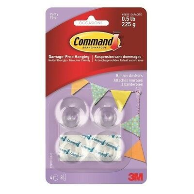 4 Command 3M Party Banner Anchors Decoration Hook Damage Free Hanging Clip Strip