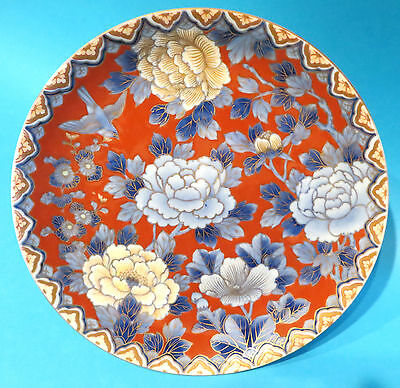CHINESE RED GROUND PLATE WITH BIRD &  PEONIES 19TH Plato Chino con ave y peonías