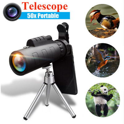 50X60 Zoom Lens Optical + Clip Tripod Telescope Monocular For iPhone Samsung
