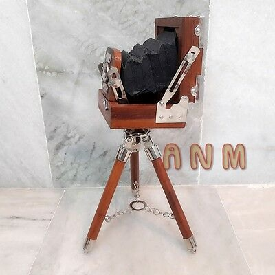 Antique Style Vintage Folding Camera With Wooden Tripod Stand Home Decor