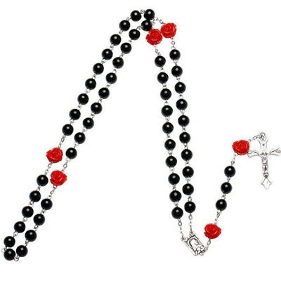 Simulation Pearl Beads Rosary Necklace Prayer Beads Pendant Jewelry 6A