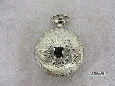 Pocket Watch Silvered Hunter Decorated Case Quartz  in Working Order Ideal Gift