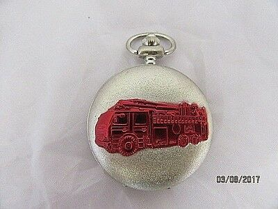 Pocket Watch Silvered Hunter Decorated With Red Fire Engine Quartz  WO