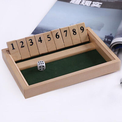 Wooden Shut The Box Game - Small Travel Set -Simple Family, Party Board Game 6A