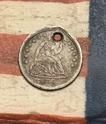 1856 5C Seated Liberty Half Dime 90% Silver Vintage US Coin #LX82
