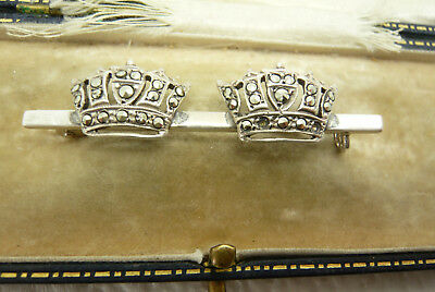 Vintage Jewellery Silver Marcasite Double Crown Royalty Brooch Pin