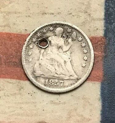 1857 5C Seated Liberty Half Dime 90% Silver Vintage US Coin #LX84